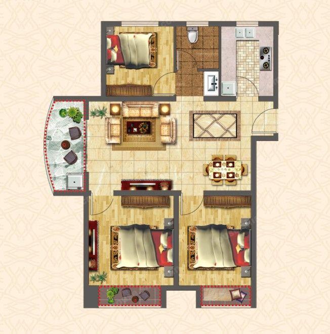 A户型 三房两厅一卫