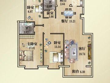 4#M户型-三室两厅两卫