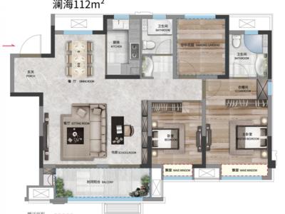 出售万兴奥园 江海亭川 3室2厅2卫112平米85万住宅