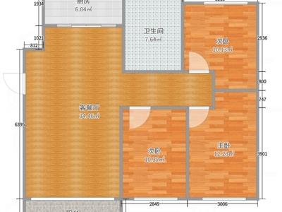 龙蟠西苑九九广场对面,地铁轻轨口,南北通透3室2厅,高性价比房源