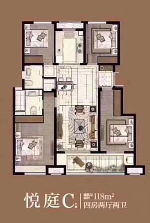 轻轨站,吾悦广场!洋房!弘阳 时光澜庭4室2厅2卫118平米